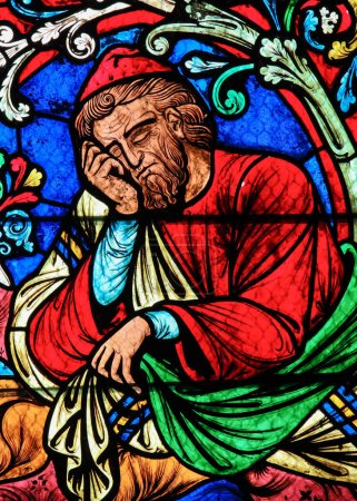 Photo for Stained Glass of Jesse, described in the Bible as the father of David, who became the king of the Israelites, in Notre Dame Cathedral of Paris, France. - Royalty Free Image
