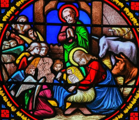 Photo for Saint-Adresse, France - August 15, 2019: Stained Glass in the Chapel of Notre-Dame-des-flots (1857) in Sainte Adresse, Le Havre, France, depicting a Nativity Scene at Christmas - Royalty Free Image