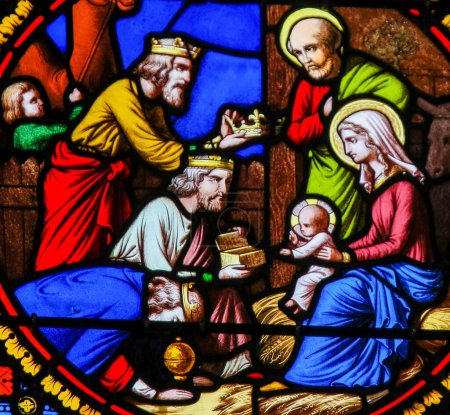 Photo for Saint-Adresse, France - August 15, 2019: Stained Glass in the Chapel of Notre-Dame-des-flots (1857) in Sainte Adresse, Le Havre, France, depicting the Epiphany or Visit of the Three Kings in Bethlehem - Royalty Free Image
