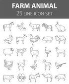 Farm animal thin line collection 25 icon set Flat design