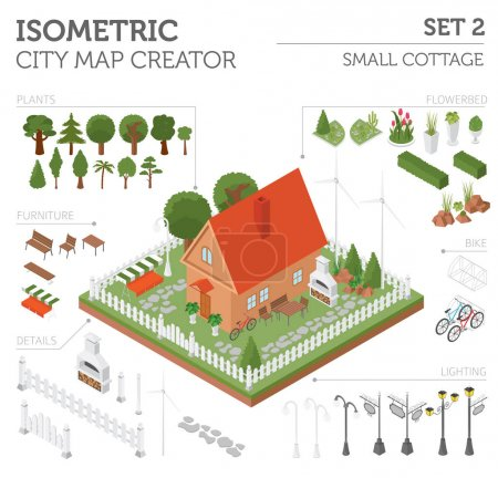Flat 3d isometric house and city map constructor elements such a