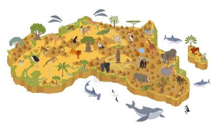 Photo pour Plat 3d isométrique Afrique flore et faune carte éléments constructeurs. Animaux, oiseaux et vie marine isolés sur un grand plateau blanc. Créez votre propre collection d'infographies géographiques. Illustration vectorielle - image libre de droit