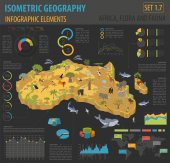 Flat 3d isometric Africa flora and fauna map constructor elements Animals birds and sea life isolated on white big set Build your own geography infographics collection Vector illustration