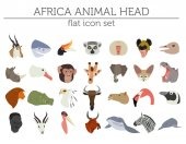 Flat Africa flora and fauna map constructor elements Animals birds and sea life isolated on white big set Build your own geography infographics collection Vector illustration