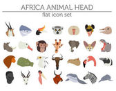 Flat Africa flora and fauna map constructor elements Animals b
