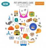 Pet appliance icon set flat style isolated on white Rodents car