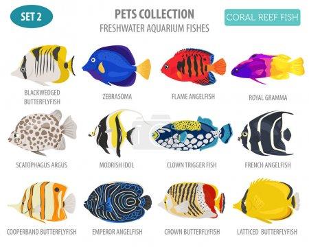 Illustration pour Les poissons d'aquarium d'eau douce se reproduisent icône mis à plat style isolé sur blanc. Récif corallien. Créez votre propre infographie sur animal de compagnie. Illustration vectorielle - image libre de droit