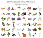 Isometric 3d South America flora and fauna elements Animals bi