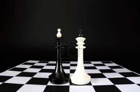 Two chess kings. Battle of equal competitors. Concept with chess
