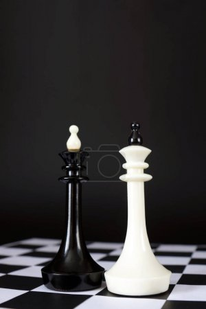 Two chess kings. Battle of equal rivals. Concept with chess pieces