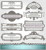 Vector Vintage BannersBorders and Frames set Victorian book covers and pages decorations