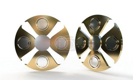 Fidget spinner titanium, 3d render