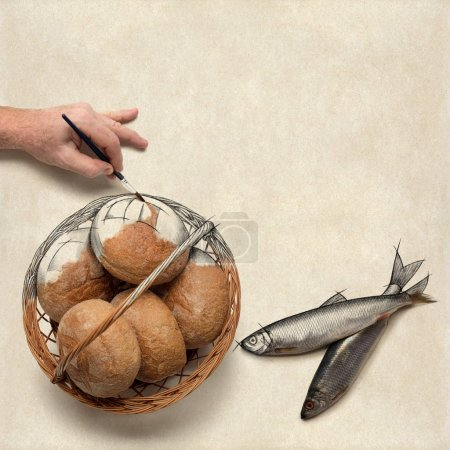 Photo for Hand painting over a drawing of five loaves of bread and two fish. Christian concept about preparing a bible study or a message on this. - Royalty Free Image