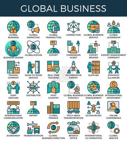 Illustration pour Concept d'affaires global icônes de ligne détaillées définies dans le style d'icône de ligne moderne pour ui, ux, site Web, web, app graphisme - image libre de droit