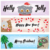Vector Christmas banners with funny cats Cute kittens New Years background collection Cartoon holiday template for your design Illustrted banners for website