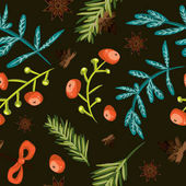 Seamless Christmas background Tile botanical pattern Vector illustrated tiled wallpaper Decorative wrapping paper texture with pine cones twigs red berries blue lives and anise stars on black