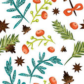 Seamless Christmas background Tile botanical pattern Vector illustrated tiled wallpaper Decorative wrapping paper texture with pine cones twigs red berries blue lives and anise stars on white