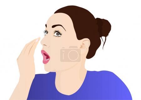 Illustration pour Illustration vectorielle de mauvaise haleine femme - image libre de droit