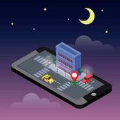 Izometrické město. Mobilní geo sledování. Mapa. Městské budovy a provozu. Geo umístění. Navigátor. Měsíčná noc