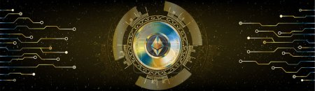 Illustration for Ethereum blockchain cryptocurrency golden coin with futuristic lines and HUD space background. Vector. - Royalty Free Image
