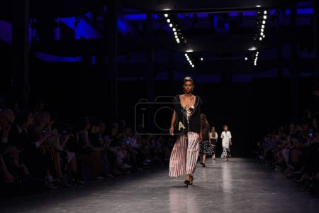 Photo for Models walk the runway at Anteprima Ready to Wear show during Milan Fashion Week Spring and Summer 2017, MILAN, ITALY, SEPTEMBER 22 - Royalty Free Image
