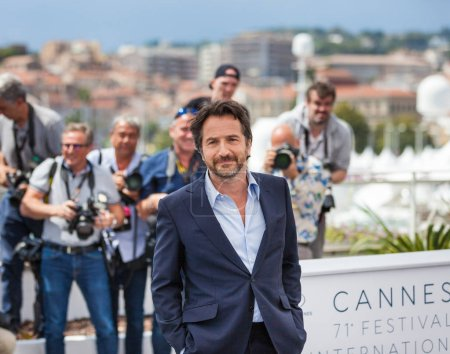 CANNES, FRANCE - MAY 08, 2018: Master of Ceremonies Edouard Baer attends the Master of Ceremonies photocall during the 71st annual Cannes Film Festival