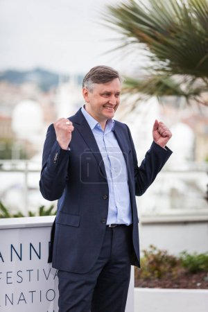 CANNES, FRANCE - MAY 09, 2018: Director Sergey Loznitsa attending photocall for 'Donbass' during the 71st annual Cannes Film Festival at Palais des Festivals