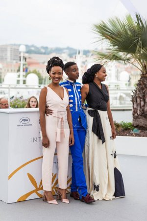 CANNES, FRANCE - MAY 09, 2018: Sheila Munyiva, Samantha Mugatsia and Wanuri Kahiu attend the photocall for 'Rafiki' during the 71st annual Cannes Film Festival