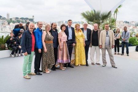 CANNES, FRANCE - MAY 09, 2018: Liudmila Smorodina, Boris Kamorzin, Natalya Buzko, Sergey Kolesov, Svetlana Kolesova, Valeriu Andriuta and Georgiy Deliev attending the photocall for 'Donbass' during the 71st annual Cannes Film Festival