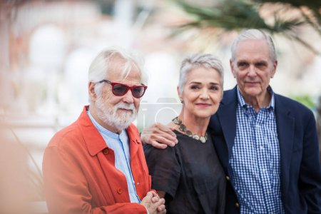 CANNES, FRANCE - MAY 12, 2018: Katharina Kubrick, Keir Dulla and Jan Harlan attend the Rendezvous With Christopher Nolan photocall during the 71st annual Cannes Film Festival