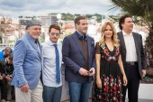 CANNES, FRANCE - MAY 15, 2018: Stacy Keach, director Kevin Connolly, Edward Walson, John Travolta, Kelly Preston and Leo Rossi attend the photocall for the 'Rendezvous With John Travolta - Gotti' on 71st Cannes Film Festival