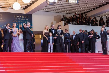 CANNES, FRANCE - MAY 15,  2018: Kelly Preston and John Travolta of 'Gotti' pose with their children Ella Bleu Travolta and Benjamin Travolta at the red carpet screening of 'Solo: A Star Wars Story' during the 71st annual Cannes Film Festival