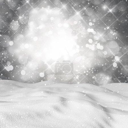 Foto de 3d renderizado de nieve sobre fondo de una boquilla estrellada. - Imagen libre de derechos