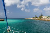 Catamaran cruising at sea in Barbados