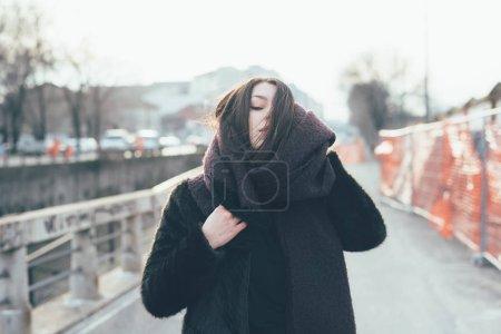 waist up young beautiful woman posing eyes closed
