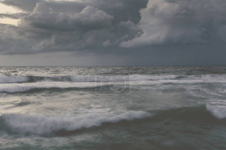 Photo for Storm in ocean with big windy waves. Toned photo - Royalty Free Image
