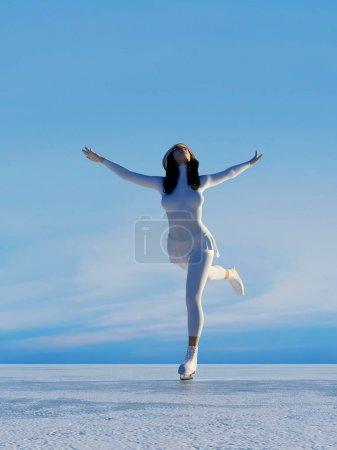 Photo pour La jeune fille dans le patinage sur la glace. - image libre de droit