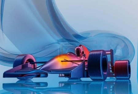 Photo for Racing cars on a blue background. - Royalty Free Image