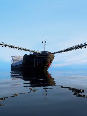 Photo pour Le pétrolier est sur une chaîne .. - image libre de droit