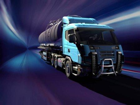 Photo pour Camion conduit par du carburant sur la route . - image libre de droit