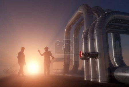 Photo pour Silhouette de travail sur le tuyau., 3d rendu - image libre de droit