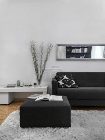 Photo pour Près d'un repose-pieds gris et un canapé dans le salon moderne avec tapis et parquet - image libre de droit