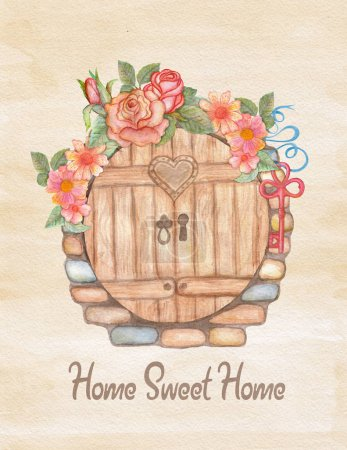 Photo for Watercolor greeting card, house warming or wedding. Hand drawn illustration with flower wreath, key, stone wall and wooden door - Royalty Free Image