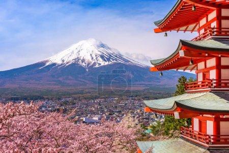 Pagoda and Fuji in Spring