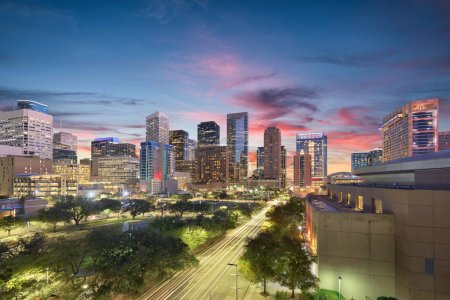 Photo for Houston, Texas, USA downtown city skyline. - Royalty Free Image