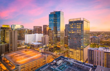 Photo for Phoenix, Arizona, USA cityscape in downtown at sunset. - Royalty Free Image