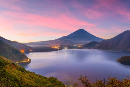 Mt. Fuji, Japan autumn dawn at Motosu Lake.