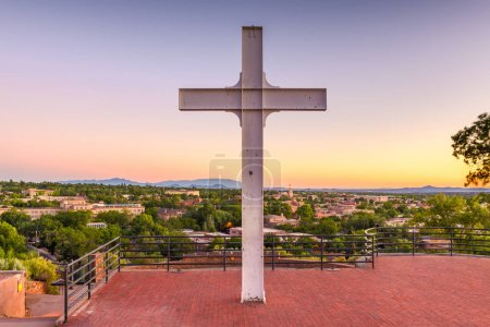 Photo for Santa Fe, New Mexico, USA downtown skyline at dusk with the cross. - Royalty Free Image