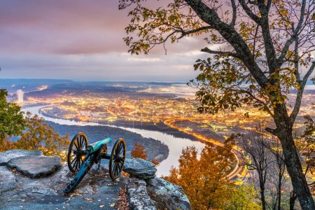 Photo for Chattanooga, Tennessee, USA view from Lookout Mountain at twilight. - Royalty Free Image