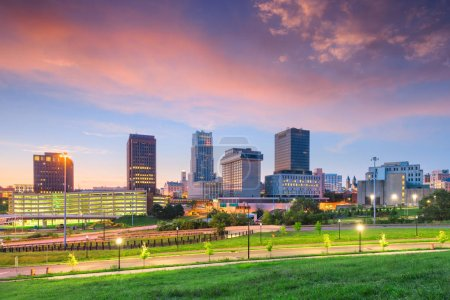 Photo for Akron, Ohio, USA downtown skyline at dusk. - Royalty Free Image